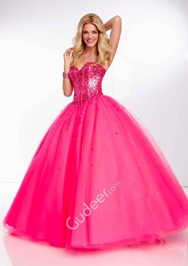 corset beaded strapless sweetheart fuschia tulle ball gown prom ...
