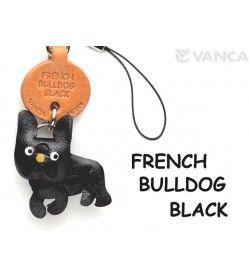French Bulldog Black Leather Cellularphone Charm
