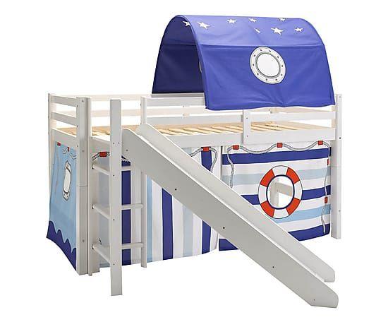 Kinder-Hochbett Marine mit Rutsche & Zelthimmel, B 211 cm