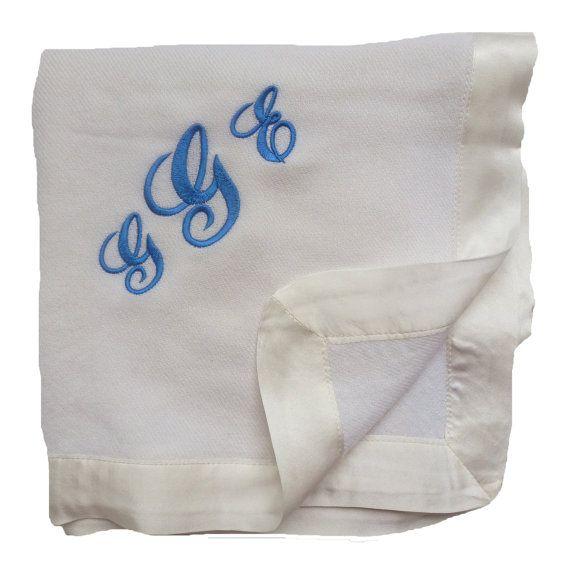 Custom Embroidered 100 Cashmere Baby Blanket Creamy White Cashmere Baby Blanket Luxury Blanket Baby Blanket