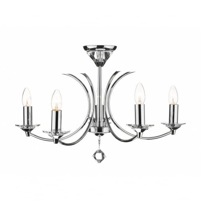 Dar medusa 5 light modern ceiling pendant light crystal and polished chrome ceiling lights from ocean lighting uk