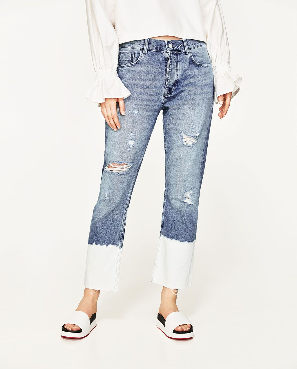 Ripped Mid Rise Jeans View All Jeans Woman Zara United States Ropa Jeans Moda