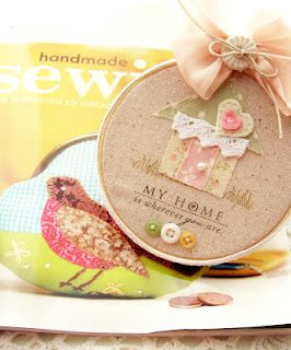 darling embroidery hoop art by andrea.  love the way she stamped direct onto the fabric.  too cute!
