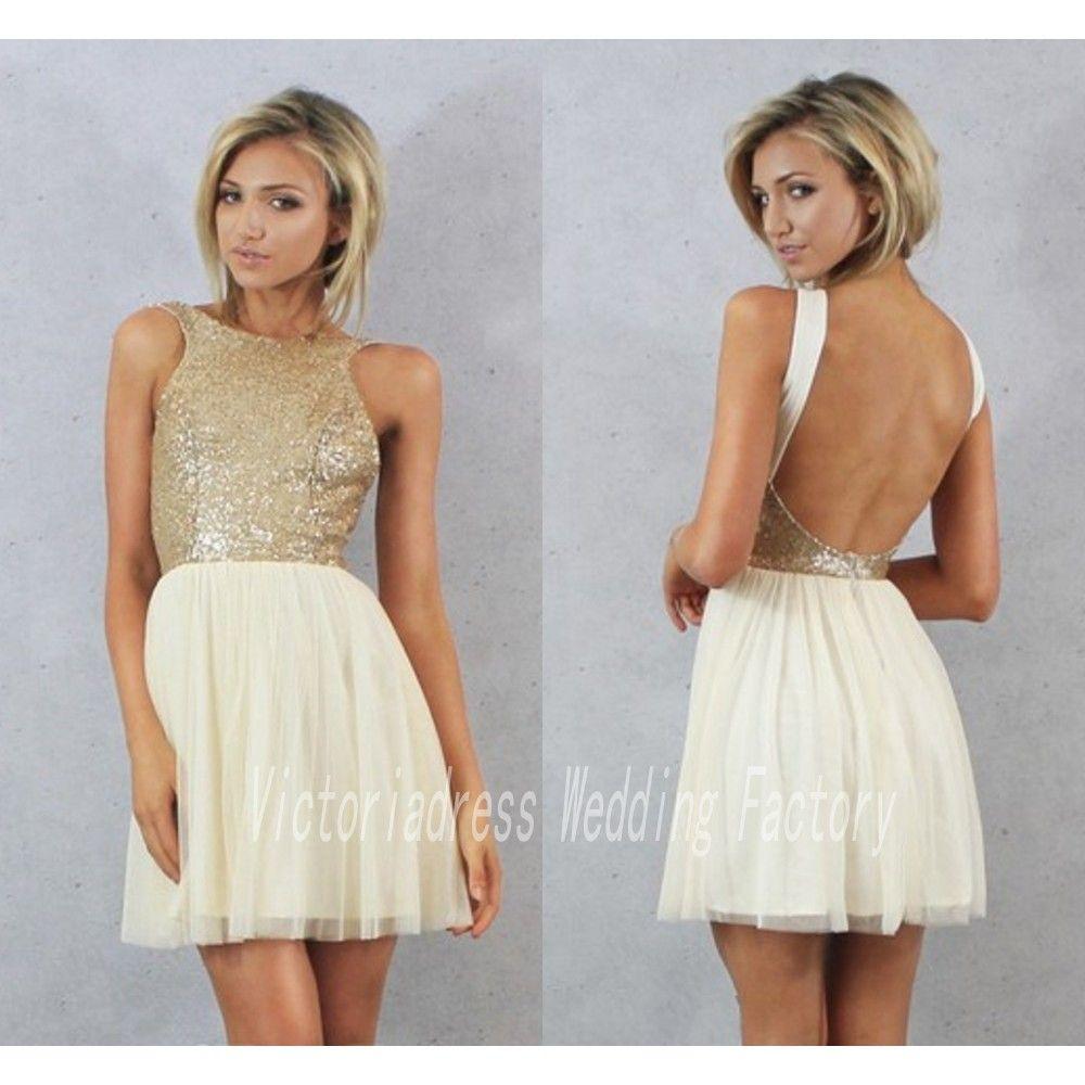 Click to buy ucuc gold sequin dress bridesmaid dress short mini open