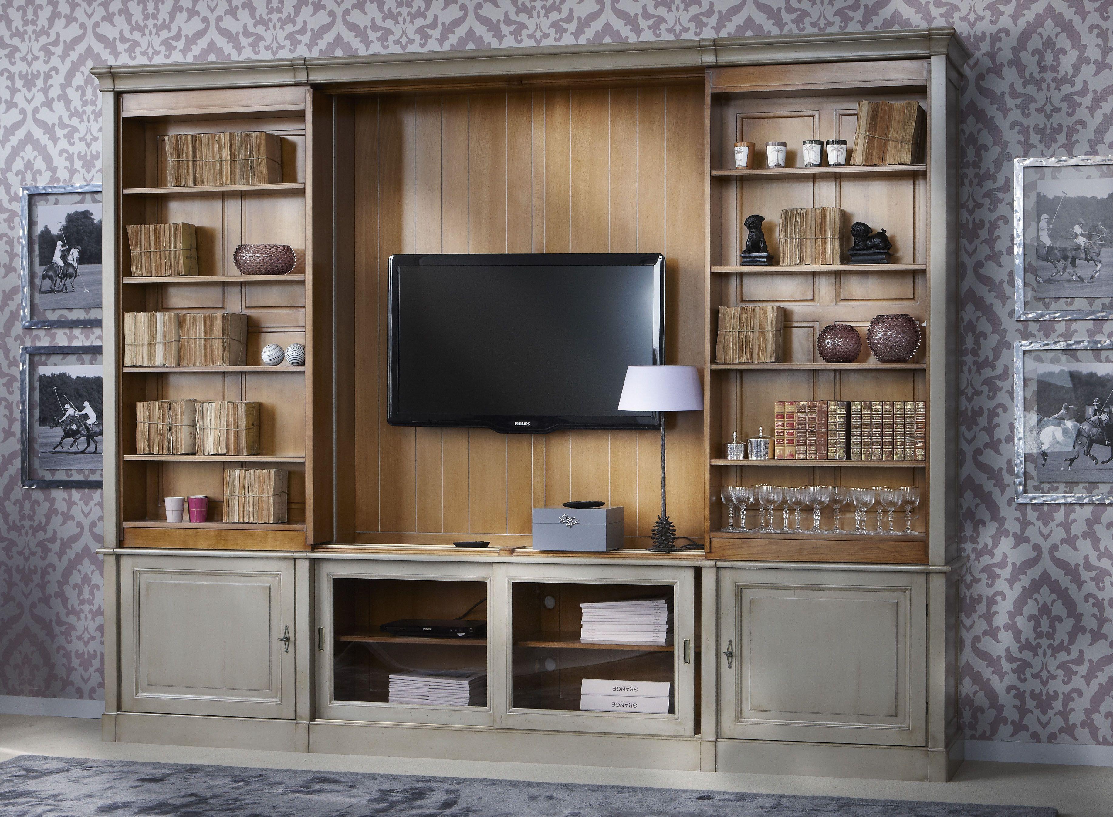 Directoire Sliding Shelves Tv Custom Wall Unit Mobilier De Salon Salle De Sejour Idees Pour La Maison