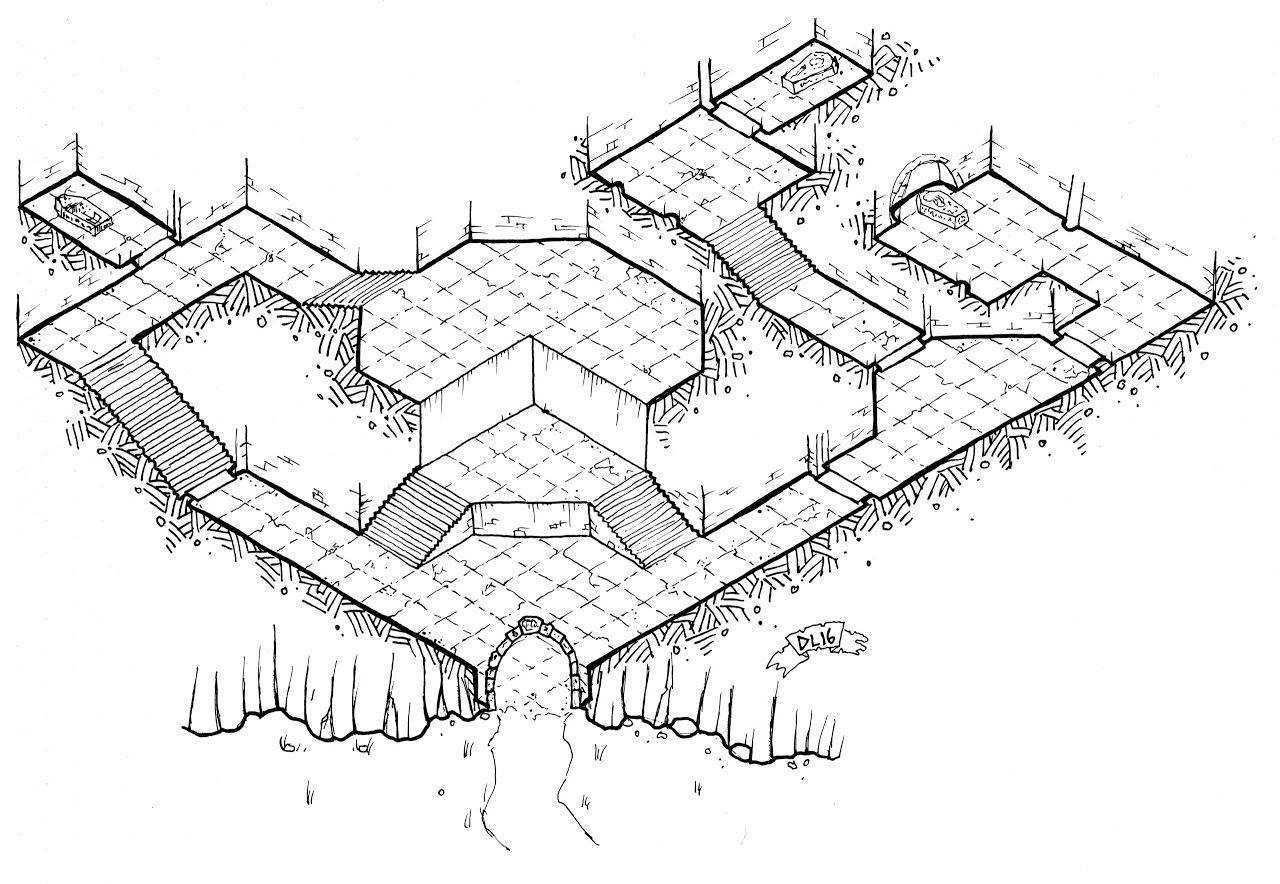 Foto: Return to Durahn's Tomb  Let's set the wayback machine for 7 years ago. Just like now, the One Page Dungeon Contest is taking submissions, and I figured I would give it a shot. I tried and tried to draw a decent isometric map for the tomb idea I had, but I just couldn't get it to work. So instead I finally surrendered to my lack of cartographic skills and drew a simple overhead map.  I topped it off by using a horribly derivative name for the dwarf entombed therein (I hadn't read the…