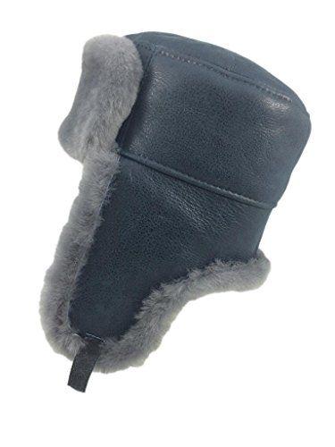 aa6bf457b70 Zavelio Men s Shearling Sheepskin Trapper Russian Hat Small Antrasit  Zavelio http   www.