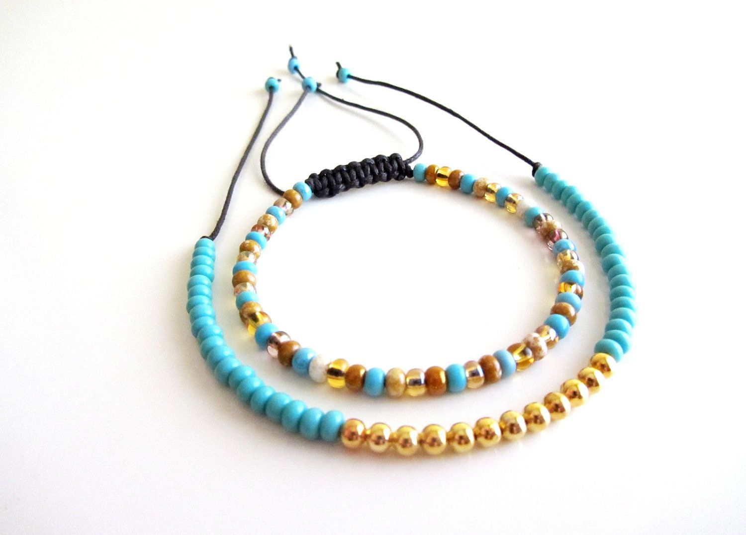 beaded friendship bracelets turquoise topaz and gold