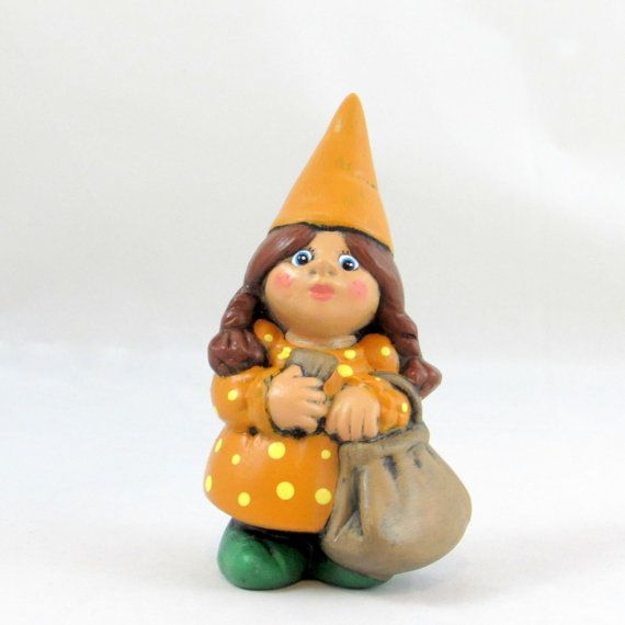 Small Travelling Female Gnome  5.5 inches lawn or by aarceramics