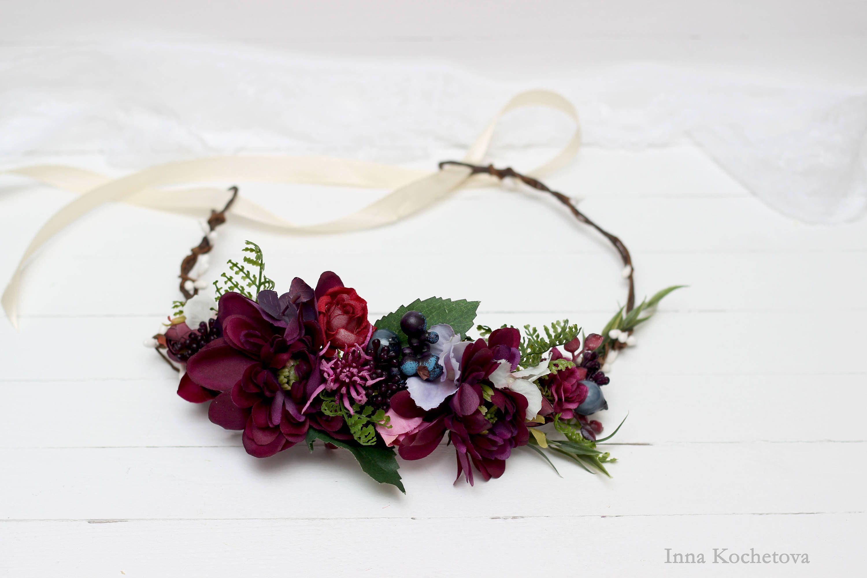 Purple flower crown floral crown wedding hair wreath bridal purple flower crown floral crown wedding hair wreath bridal headpiece flower girl crown flower halo boho izmirmasajfo
