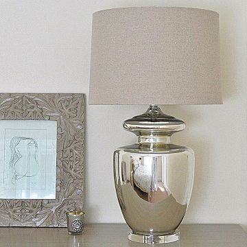 Large Silver Urn Glass Table Lamp Natural Shade Primrose Plum Silver Table Lamps Table Lamp Design Glass Table Lamp