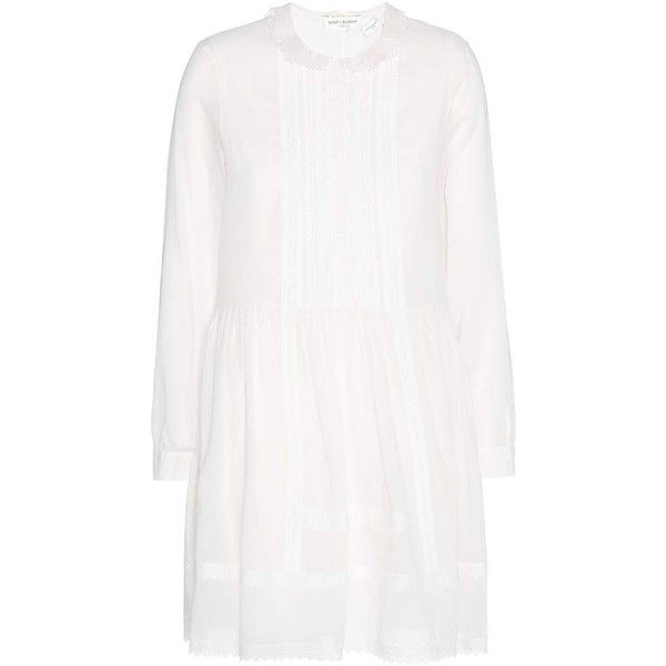Saint Laurent Lace Trimmed Cotton Mini Dress (101,575 INR) ❤ liked on Polyvore featuring dresses