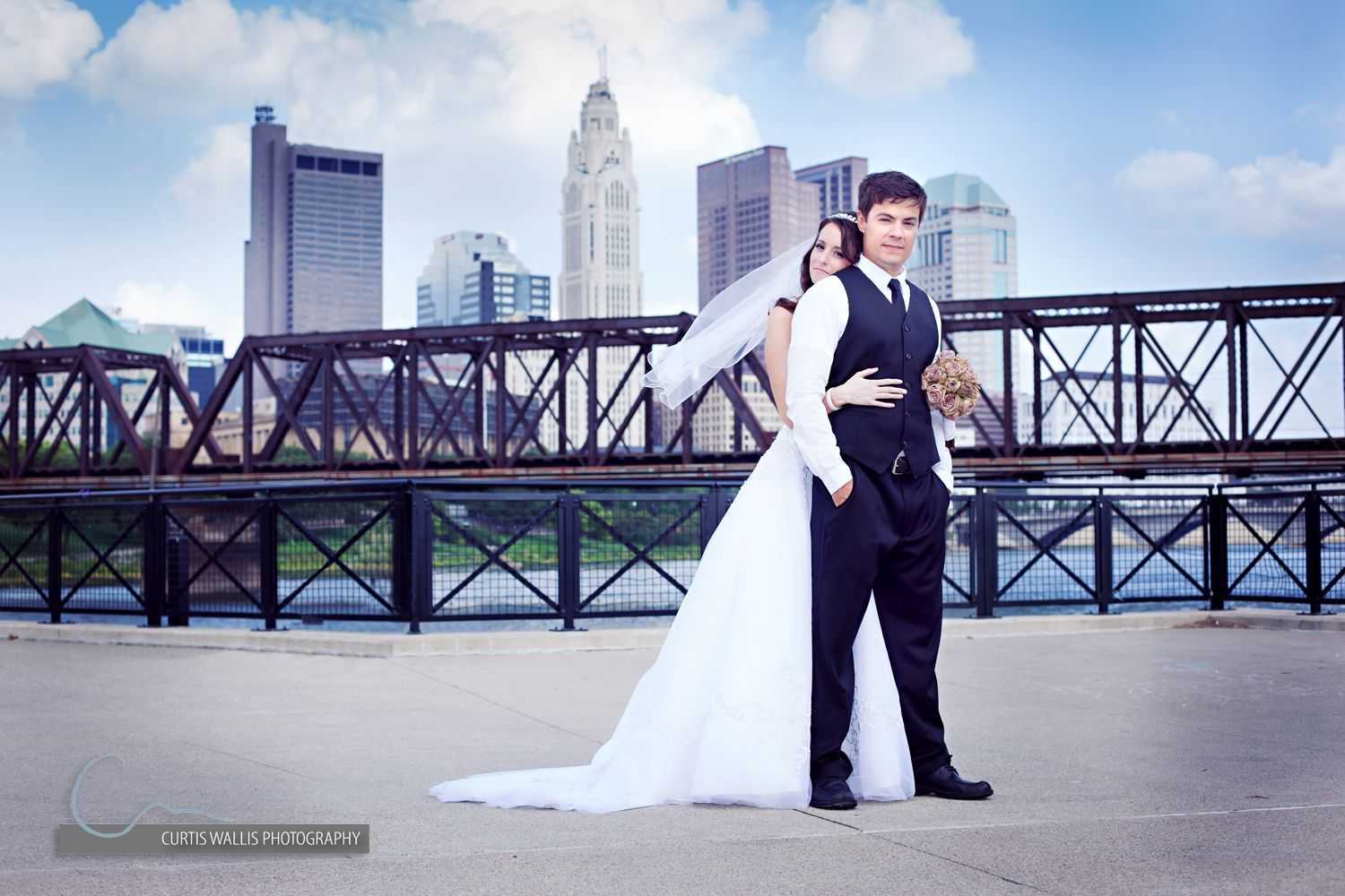 columbus engagement pictures with skyline Wedding Wedding