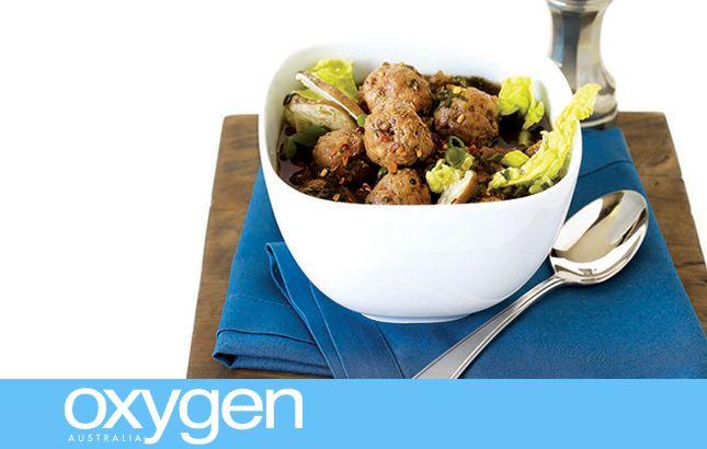 Crock-Pot Pork Meatball Soup with Korean Salad