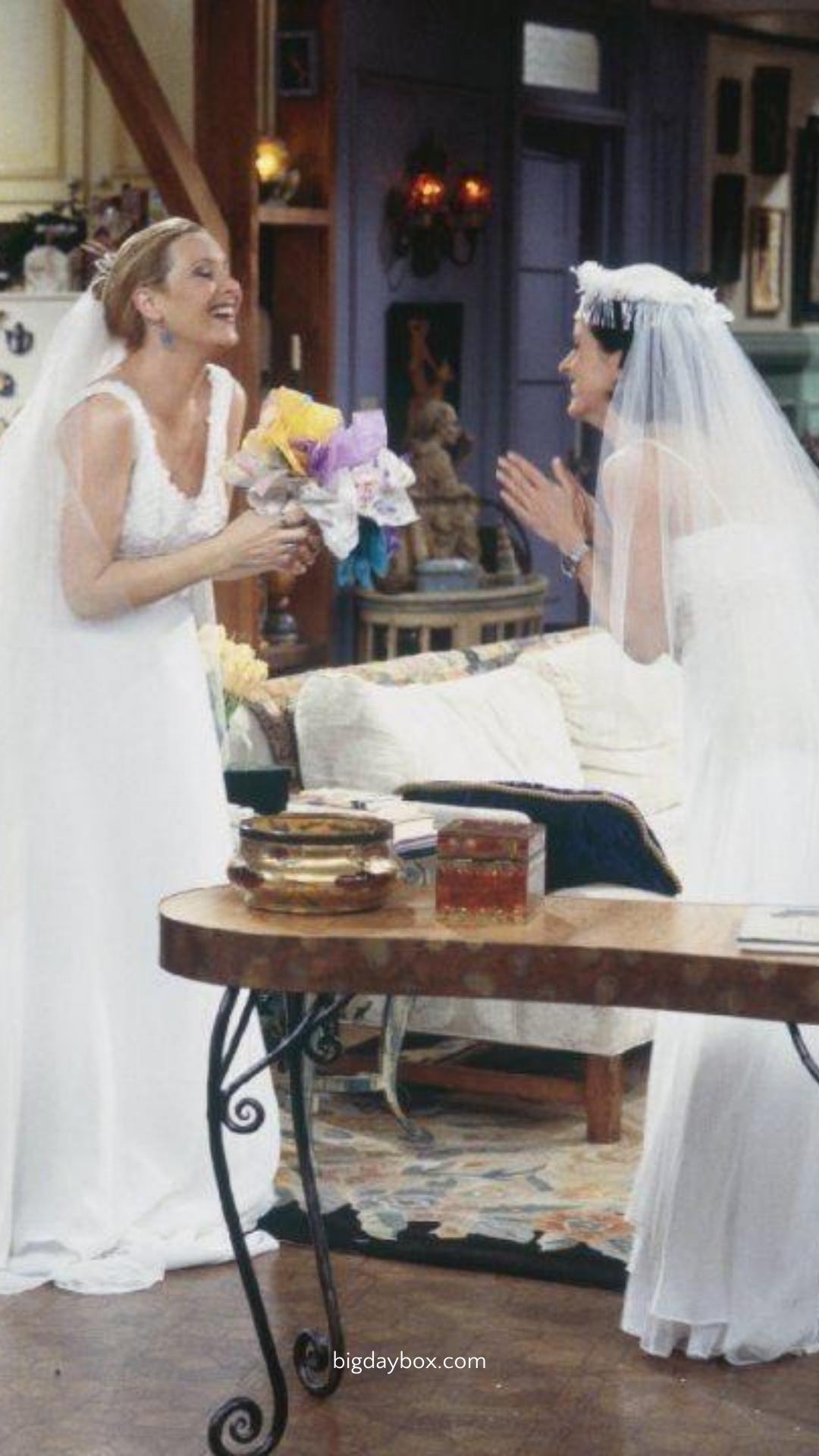 Phoebe And Monica In Wedding Dresses Friends Show Wedding Dresses Wedding Wedding Dress Inspiration Wedding Dresses [ 1920 x 1080 Pixel ]