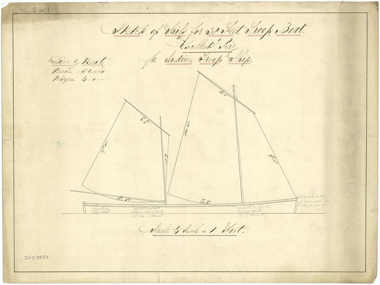 hight resolution of sailplan of a 30 ft sloop similar to beach yawls rig