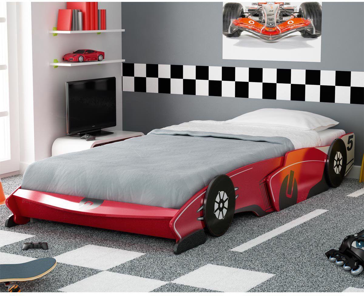 Lit voiture rouge 15 x 115  Deco chambre garcon, Déco chambre