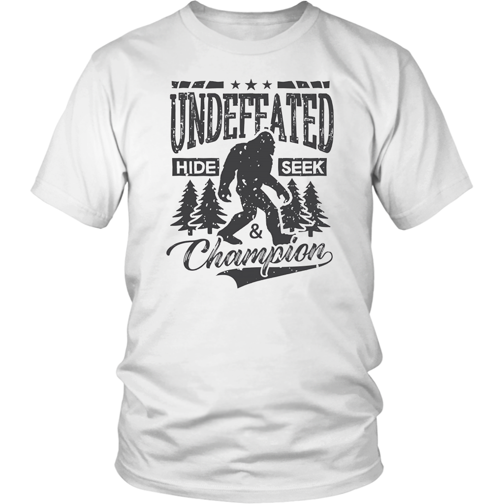 e10d8234a Bigfoot T-shirt Undefeated Hide & Seek Sasquatch Yeti Gift – Bornmay Design  Your Own