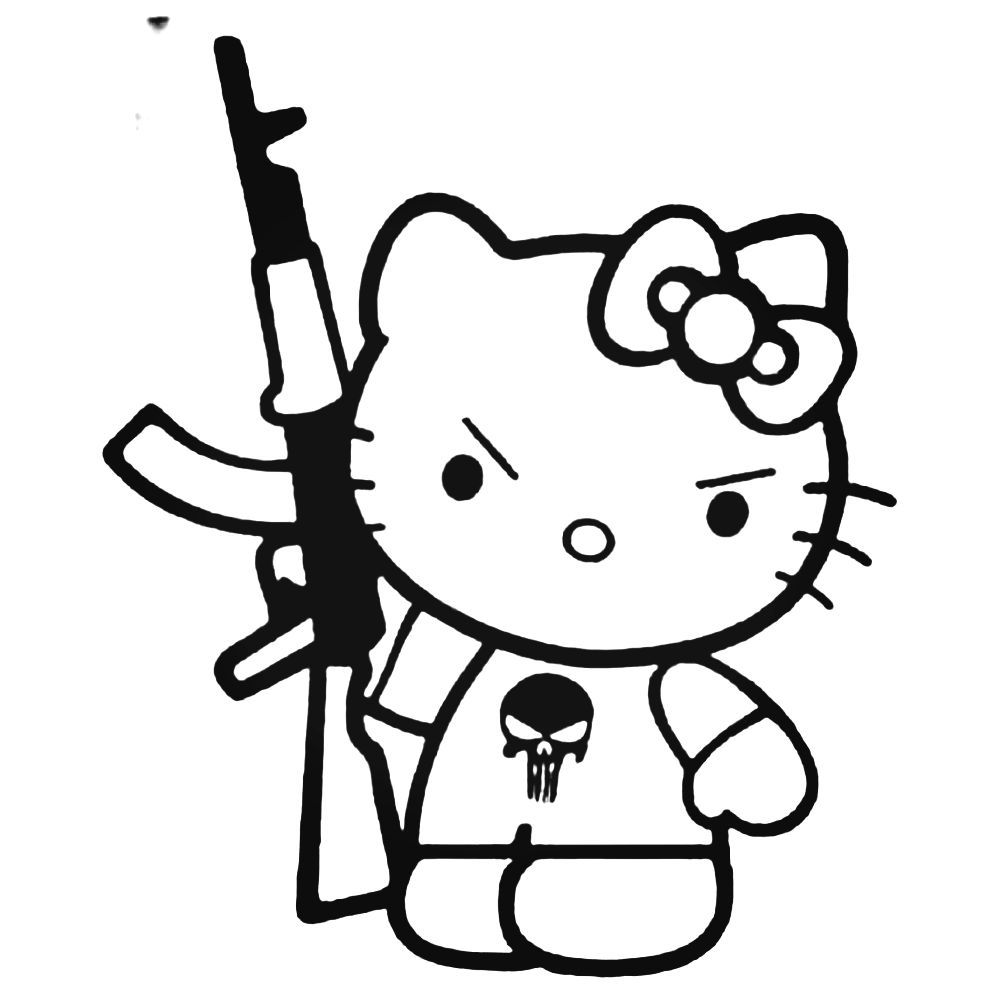 8fc7ebaaf Hello Kitty With Kalashnikov Gun Jdm Decal Sticker BallzBeatz . com ...