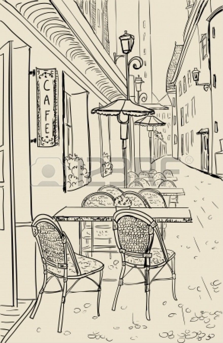 Street cafe | Paris drawing, Perspective art, Town drawing