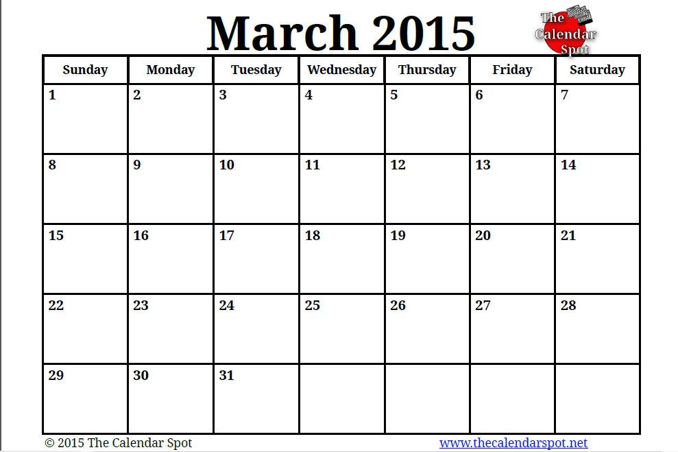 March 2015 Calendar With Holidays And 2015 March Calendar