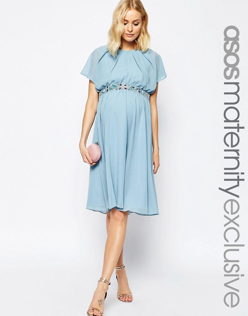 Image 1 of ASOS Maternity Flutter Sleeve Midi Dress with Embellished ...