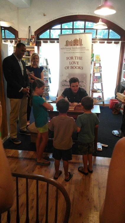 @watchungbooks: Tiny Elephant Cafe, Watchung Booksellers, and @Chriscolfer @lbkids TLOS3. A very happy group.