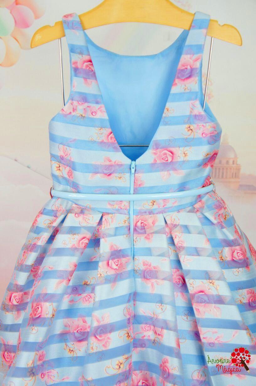 09b271f30 Vestido Infantil de Festa Azul Organza Petit Cherie Kids   vestido ...