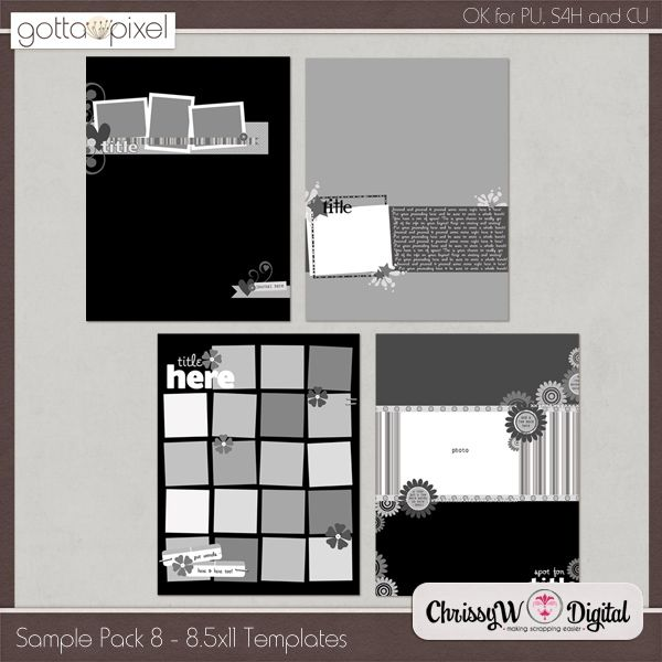 Sample Pack 8 - 8.5x11 Templates :: Gotta Pixel Digital Scrapbook Store