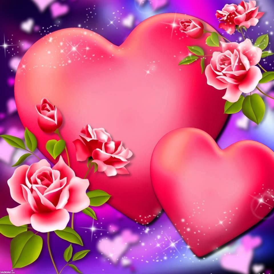 6 Beautful Pink Flowers & Two Beautiful Pink Hearts - (Roses