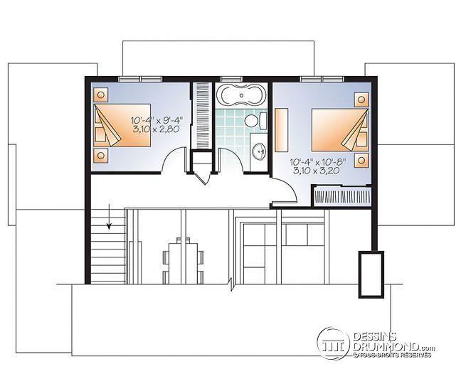 W3965 - Chalet 2 étages, style scandinave, espace conviviale, 3 - plan maison etage m