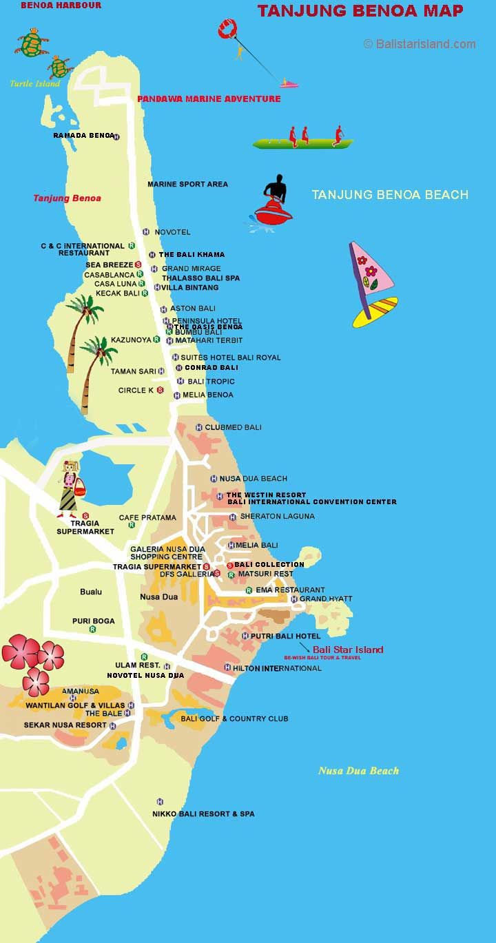 Map Of Hotels On Nusa Dua Beach