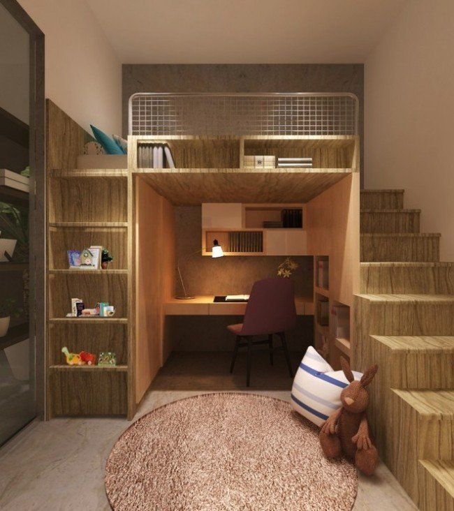 lit mezzanine avec étagères de rangement, escalier et bureau | lit