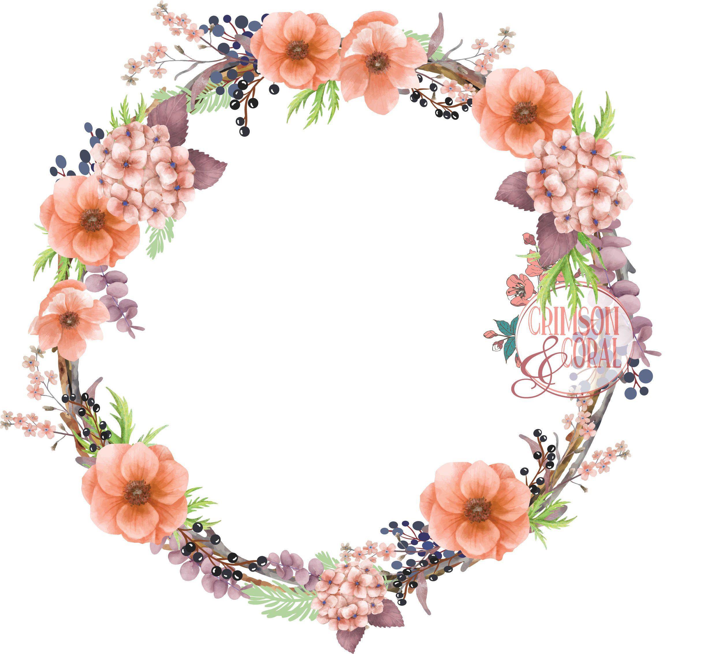 Peach floral boho wreath