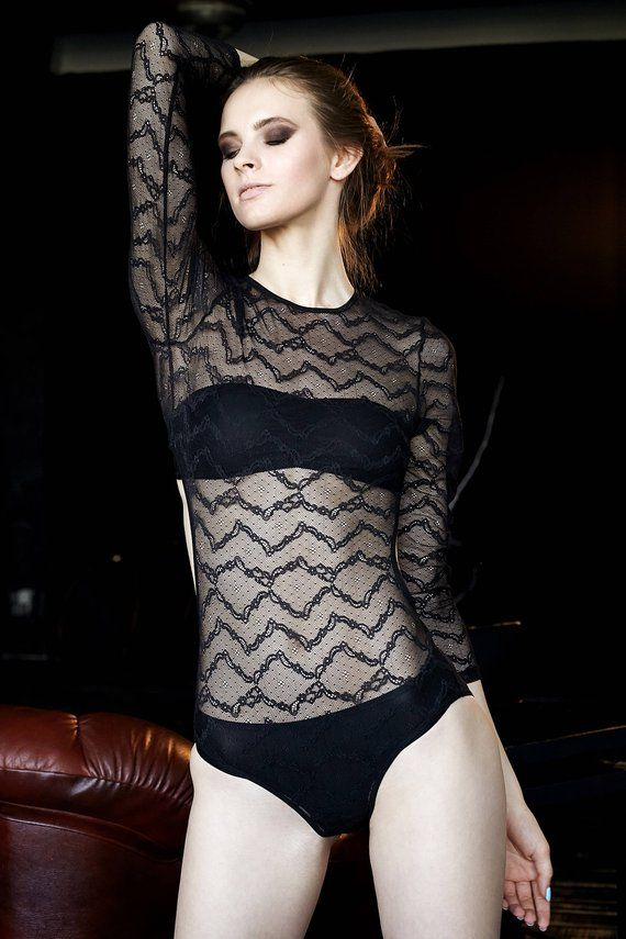 d8dbc4ff492 Sheer black lace bodysuit with cutout sides. Black longsleeve open back  bodysuit. Sheer lingerie. Ha