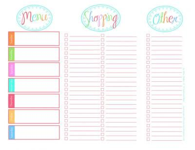 Menu And Grocery List Printable  Cooking Organization