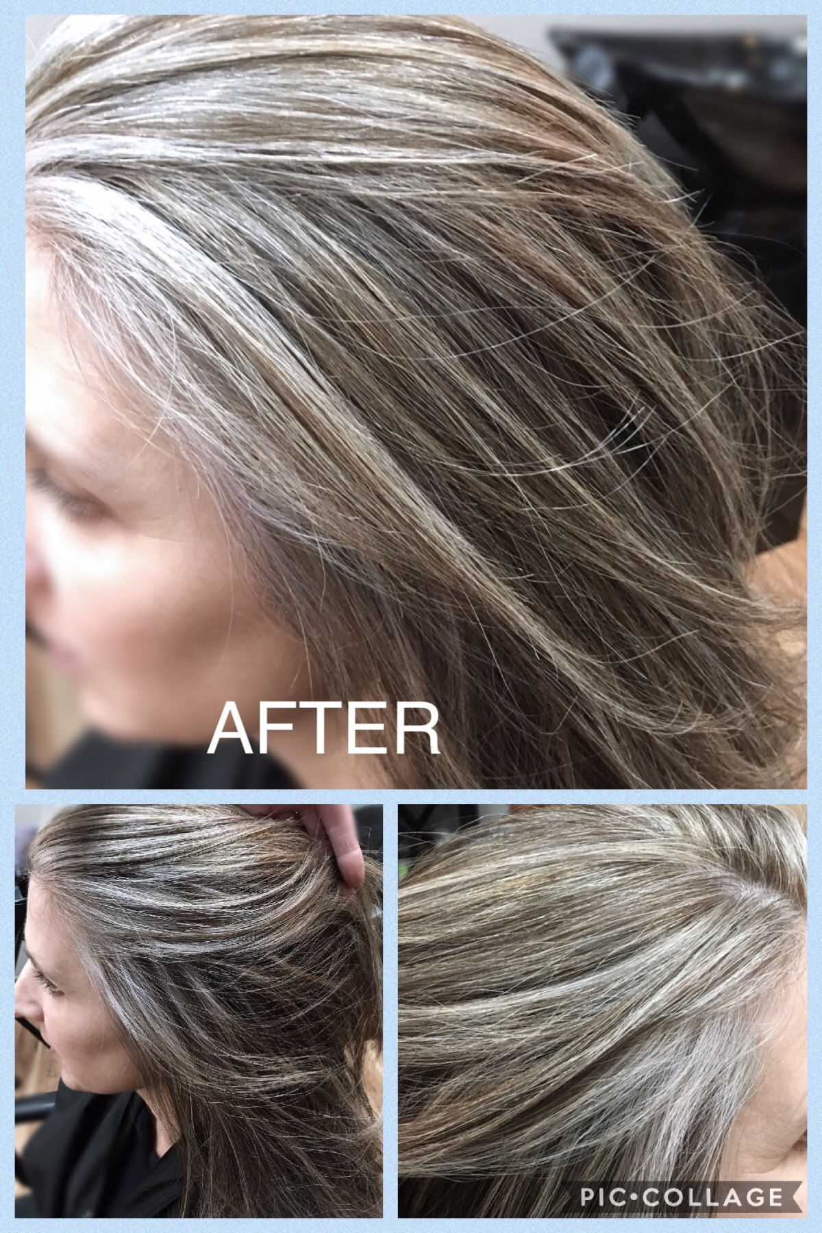 After Blended Gray Hilites Beautiful I Used Wella T18 As A Toner A Gray Hair Growing Out Natural Gray Hair Blending Gray Hair