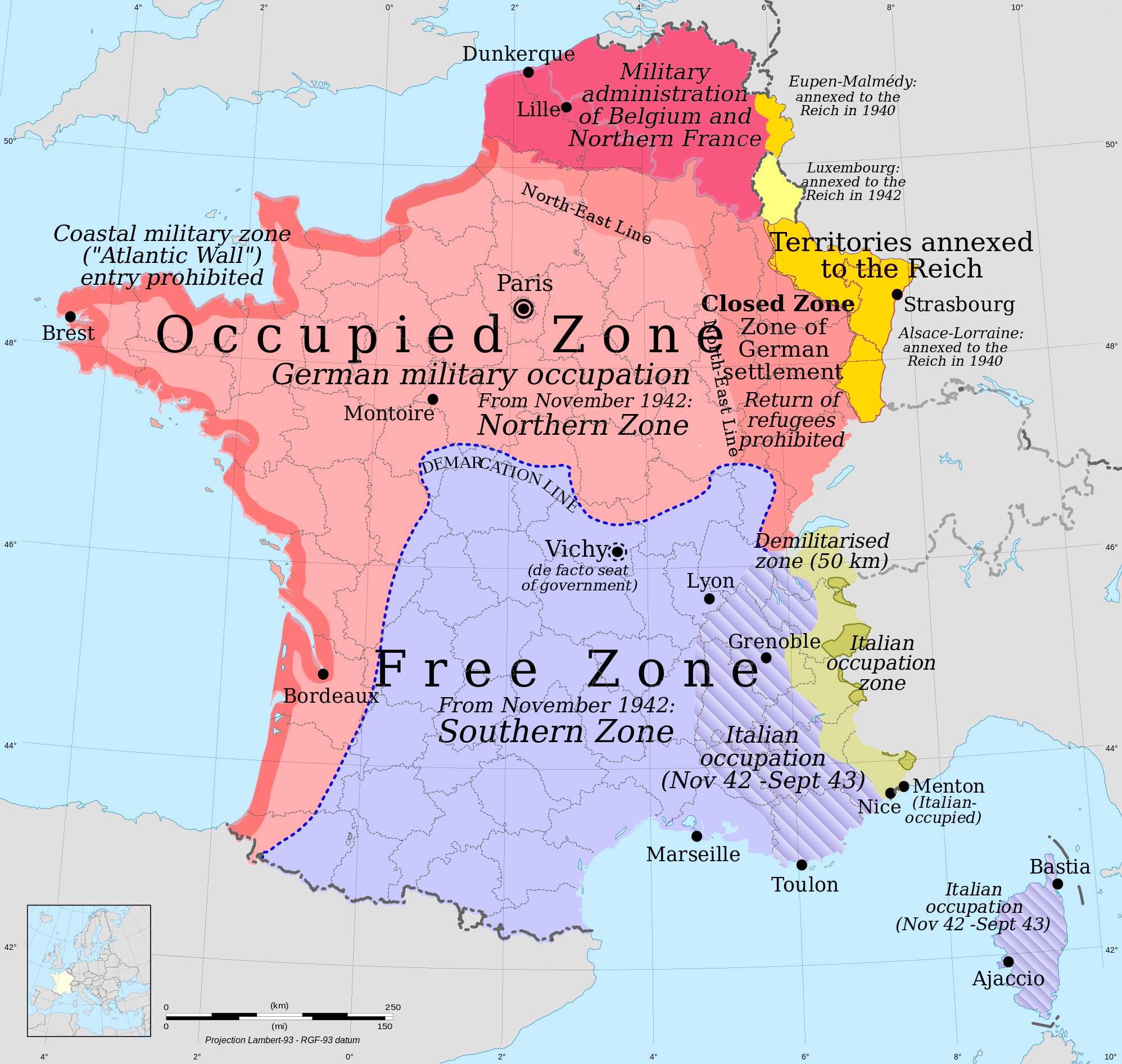 Philippe ptain who delivered an radio address to the french people mapsontheweb map of occupied france more world war 2 maps gumiabroncs Choice Image