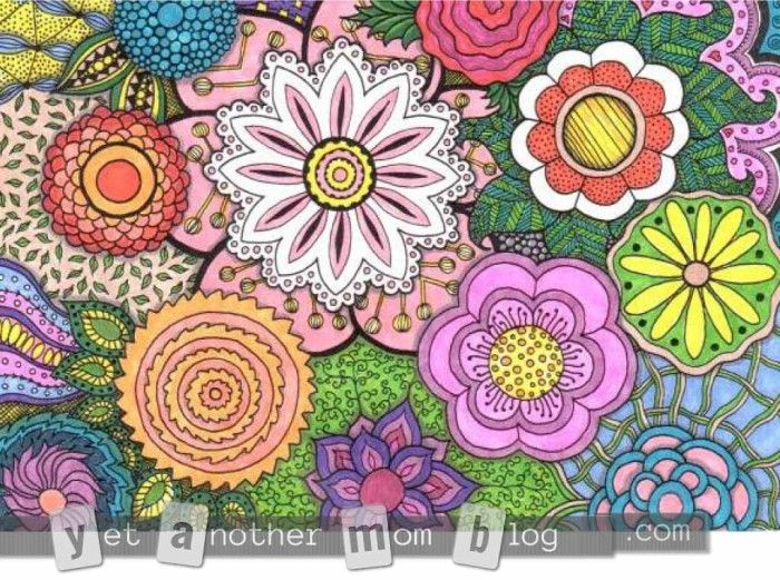Adult coloring page zentangle flowers second small colored