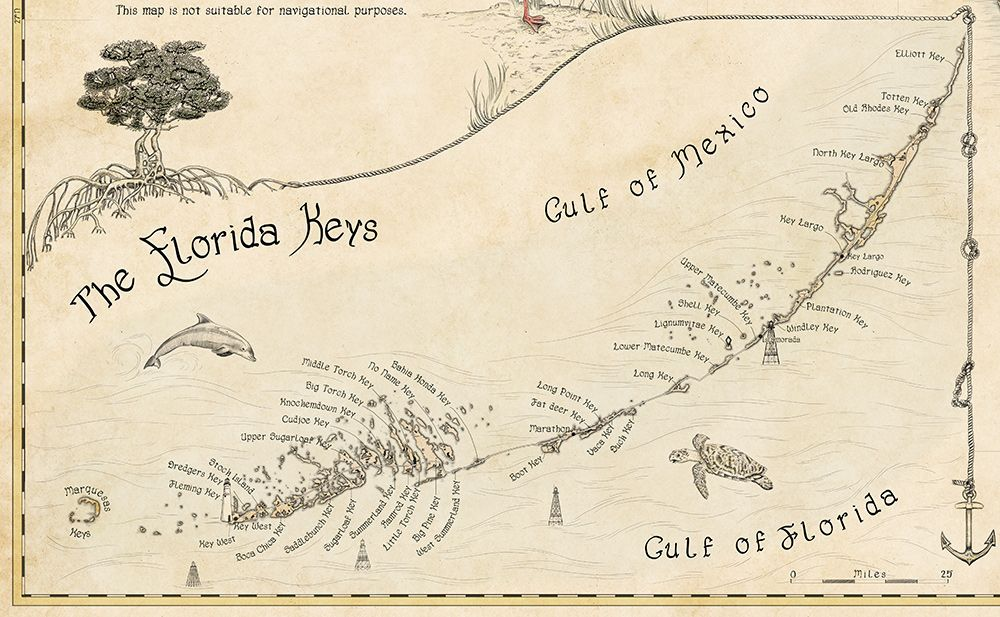 Detailed Map Of Florida.Detailed Florida Keys Map Illustrations Hand Drawn By Royale Maps
