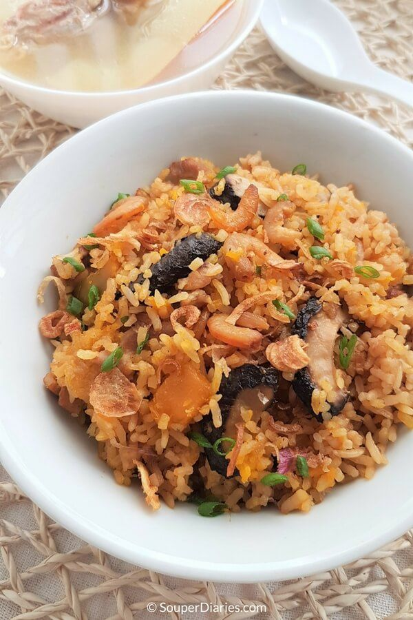 Delicious and flavorful one pot rice cooker pumpkin rice.