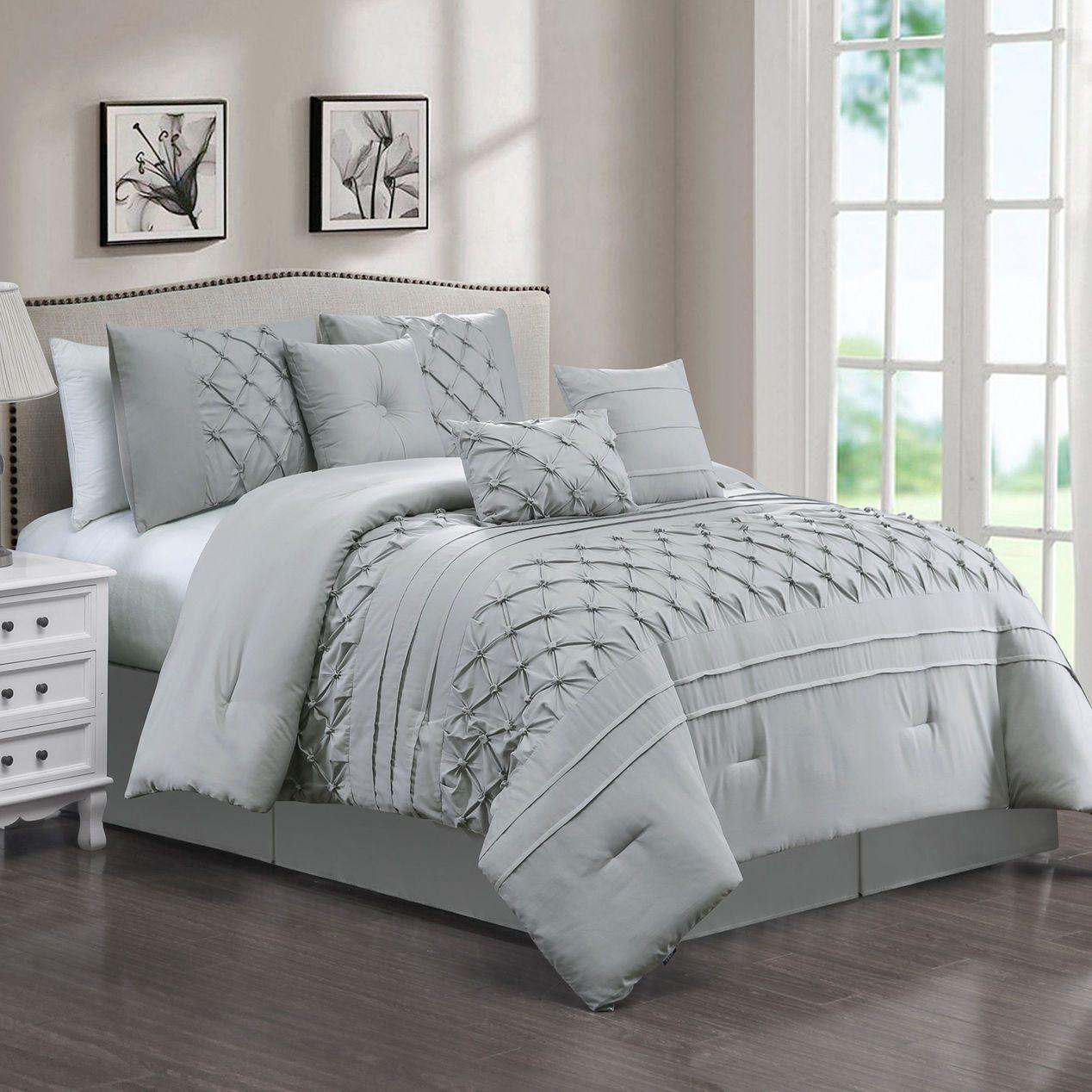 Pintuck Microfiber Light Grey Queen Comforter Set Comforter Sets Queen Comforter Sets King Comforter Sets