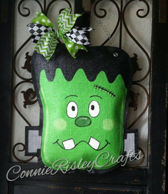 Frankenstein Halloween Burlap Door Hanger Decoration and Wreath Replacement & Frankenstein Halloween Burlap Door Hanger Decoration and Wreath ...