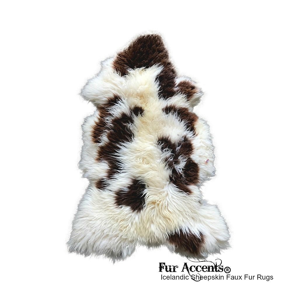 FUR ACCENTS Sheepskin Faux Fur Accent Rug Off White Lux Fur