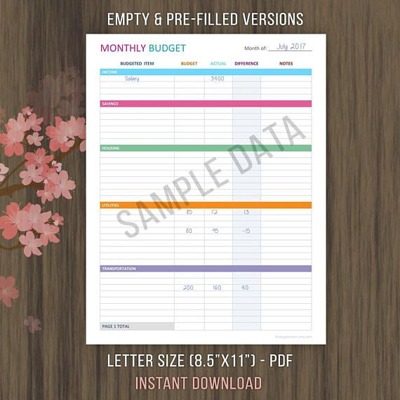 MONTHLY BUDGET PLANNER - LETTER SIZE ~ - KEEP TRACK OF YOUR SPENDING