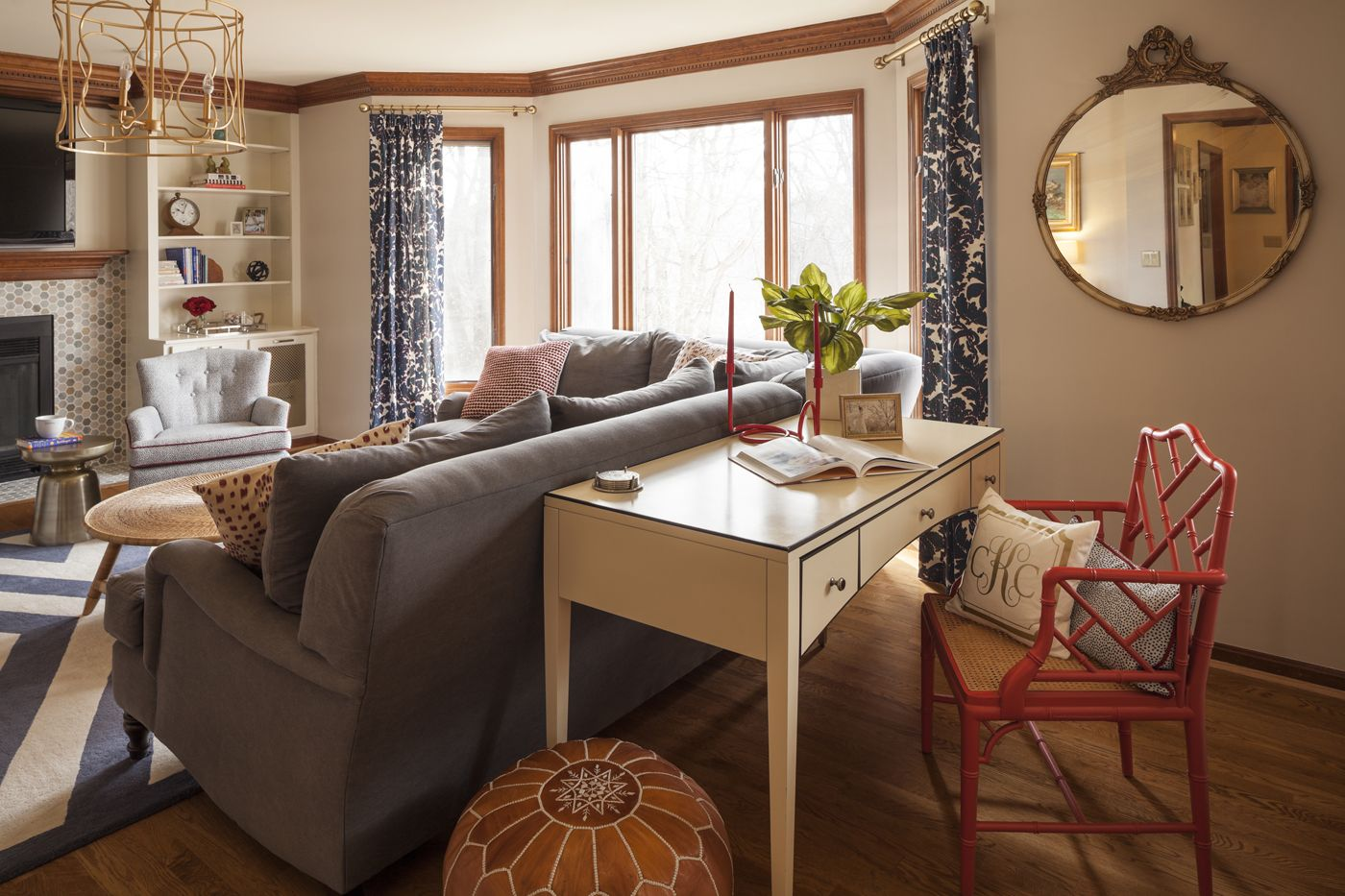 Beautiful Transitional Living Room By Reusch Interior Design. Cream Desk  With Red Chair. Navy, White, And Grey Living Room.