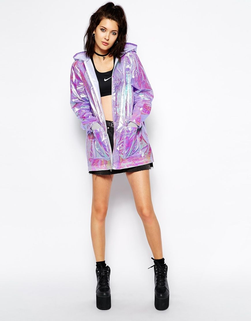 aed73d93f1f Holographic hooded festival rain jacket by The Ragged Priest ...