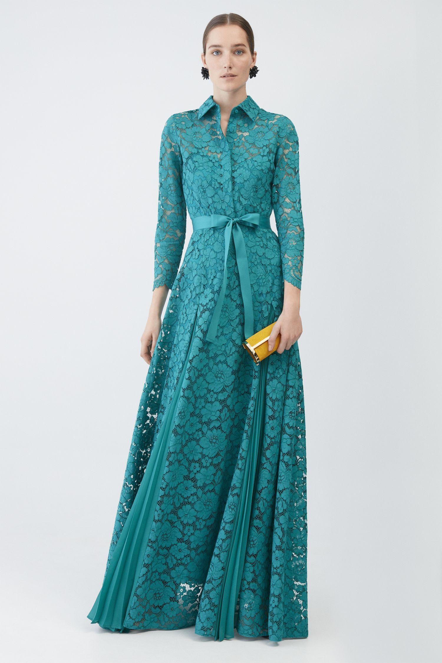 0628b2561 Vestido de encaje con godets plisados AZUL TURQUESA - Vestidos de Colección