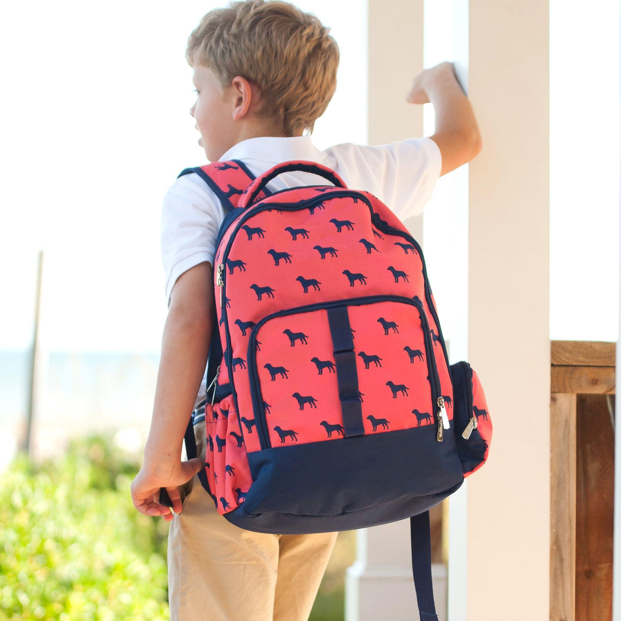 Kids Embroidered Monkey Monogram Personalised Backpack Red Rucksack Name