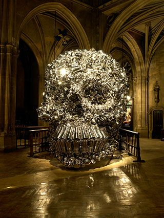 Skull made of scrap metal